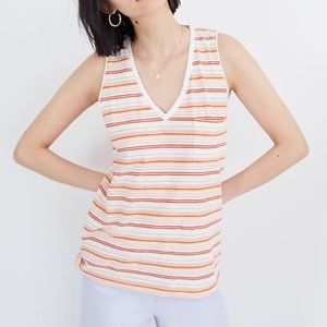 MADEWELL multi color stripped v neck tank